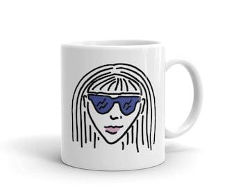 Girl With Shades Mug-Girl With a Crown