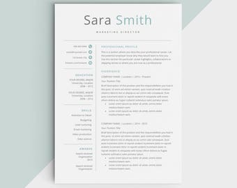 Modern Resume Template Cv For Microsoft Word Etsy