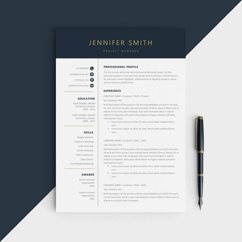Modern Resume Template CV For Microsoft Word