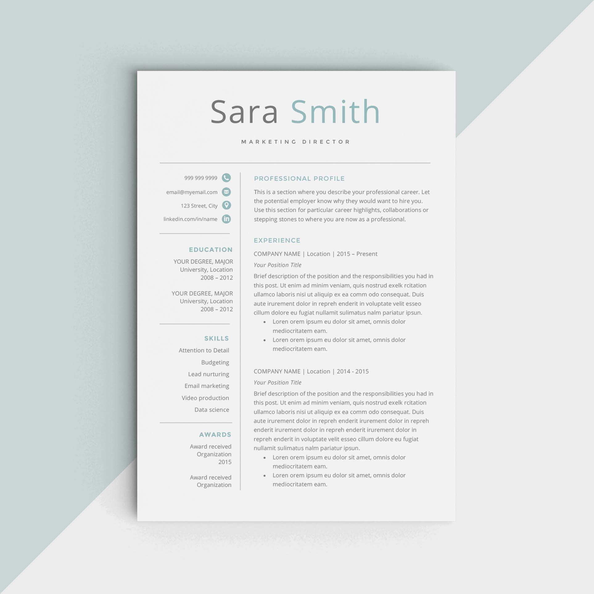 Kreative Lebenslauf Vorlage kreative CV für Microsoft Word