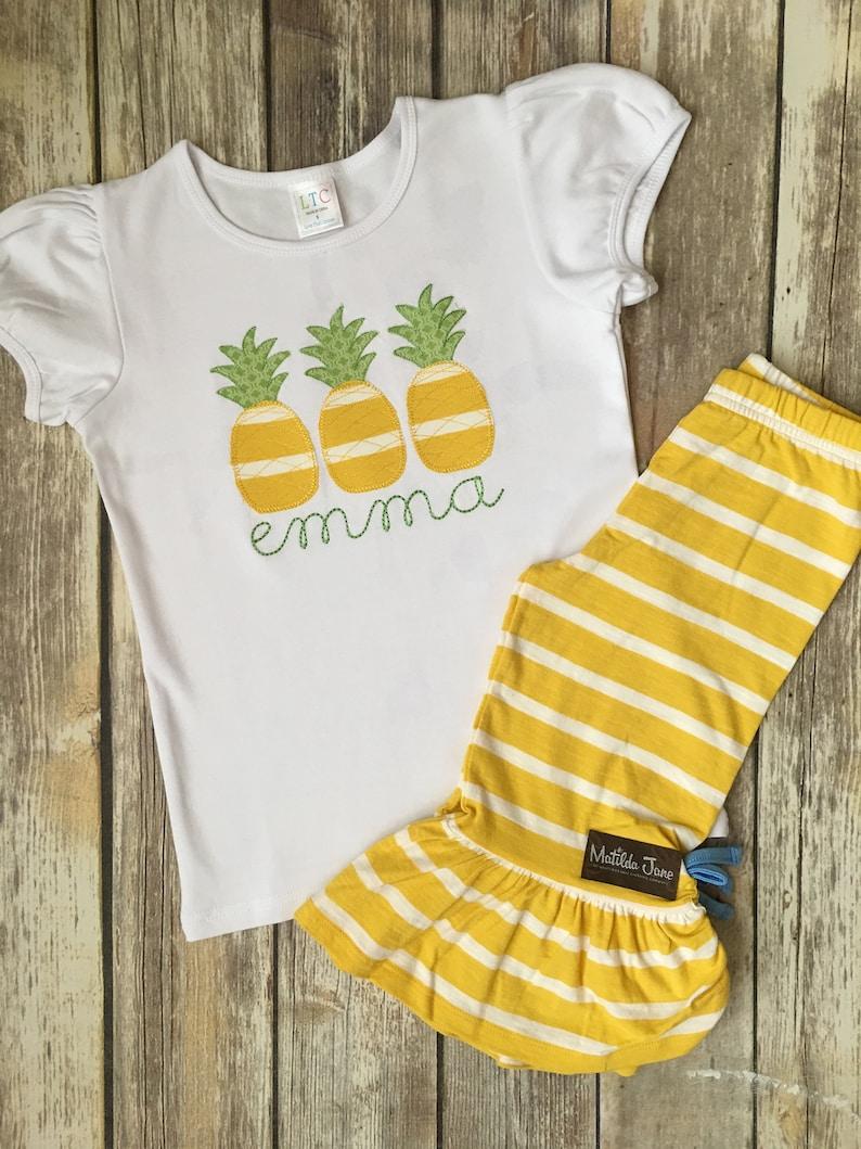 307226ea470 Personalized Pineapple Trio Appliqued Shirt m2m Matilda Jane | Etsy