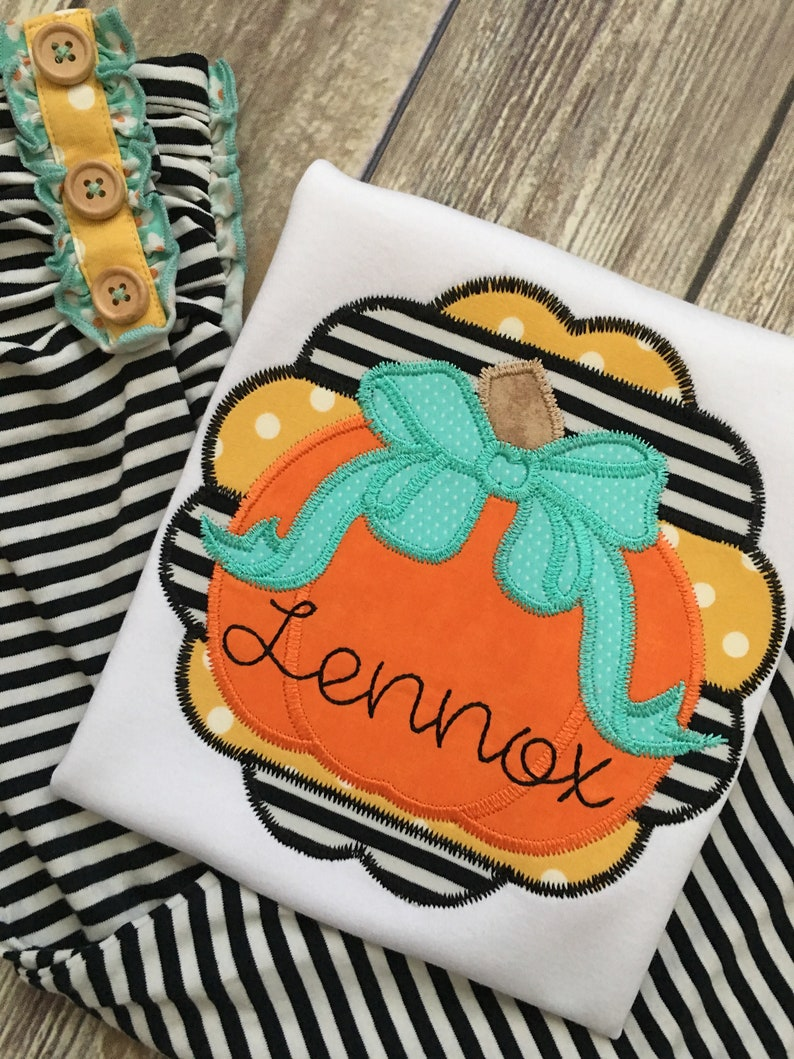 0d51abfaf33cf Scalloped Pumpkin Shirt m2m Matilda Jane Tiptoe Leggings | Etsy