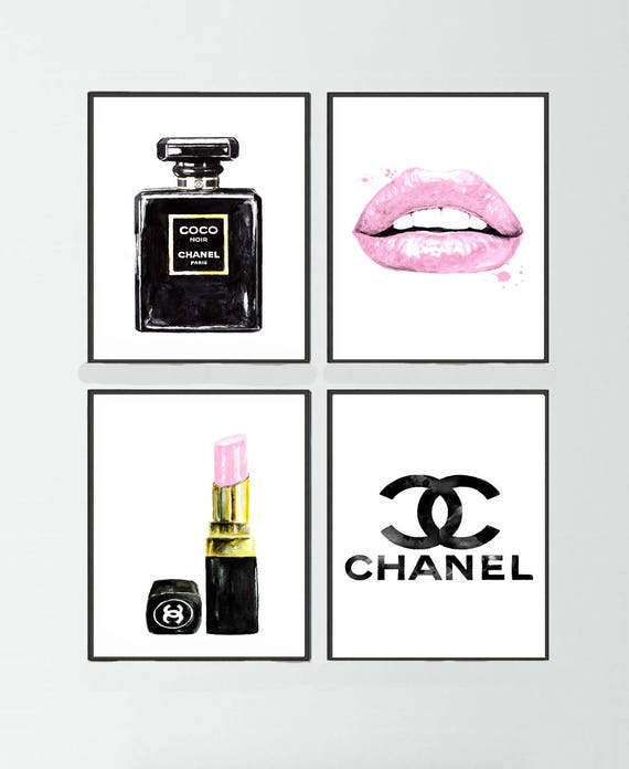 Chanel Noir Perfume Set Of 4 Chanel Lipstick Chanel Logo Art Etsy