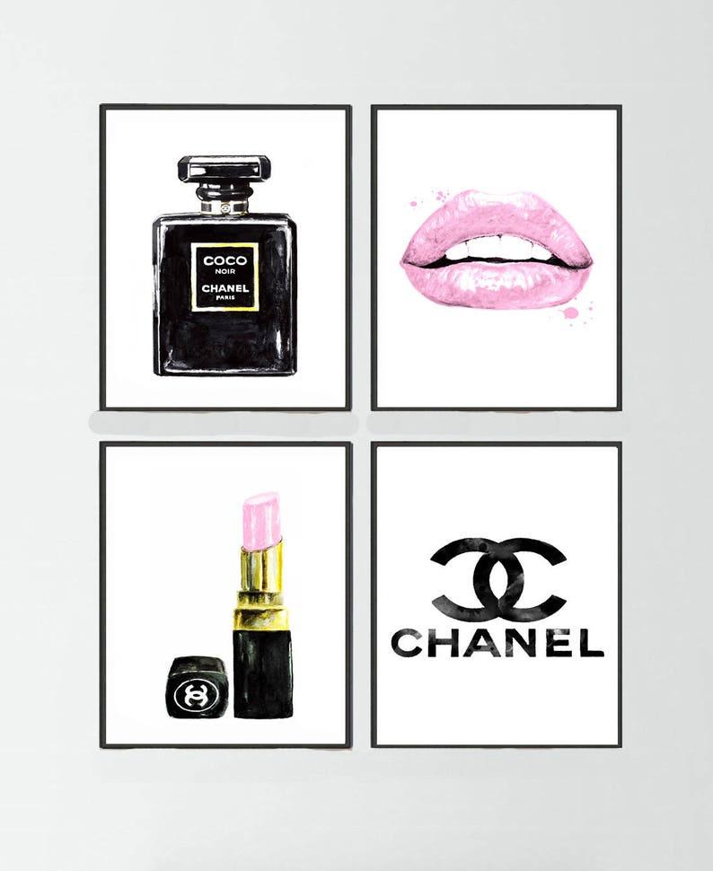 943a8e329 Chanel Noir perfume set of 4 Chanel lipstick Chanel logo art   Etsy