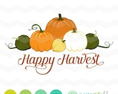 Happy Harvest SVG File: Pumpkins svg File, dxf svg, Happy Harvest DXF, Silhouette Cameo, Cricut Fall Cut Files