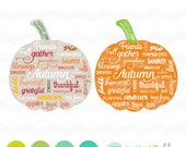 Pumpkin SVG File: Autumn Thankful svg File, dxf svg, bundle, DXF Silhouette Cameo, Cricut Fall Cut Files, Gather Thankful Words