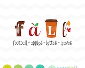 Fall SVG File: Fall SVG Football Apples Leaves Lattes svg File, Autumn dxf, fall dxf, DXF, Silhouette Cameo, Cricut Fall Cut Files