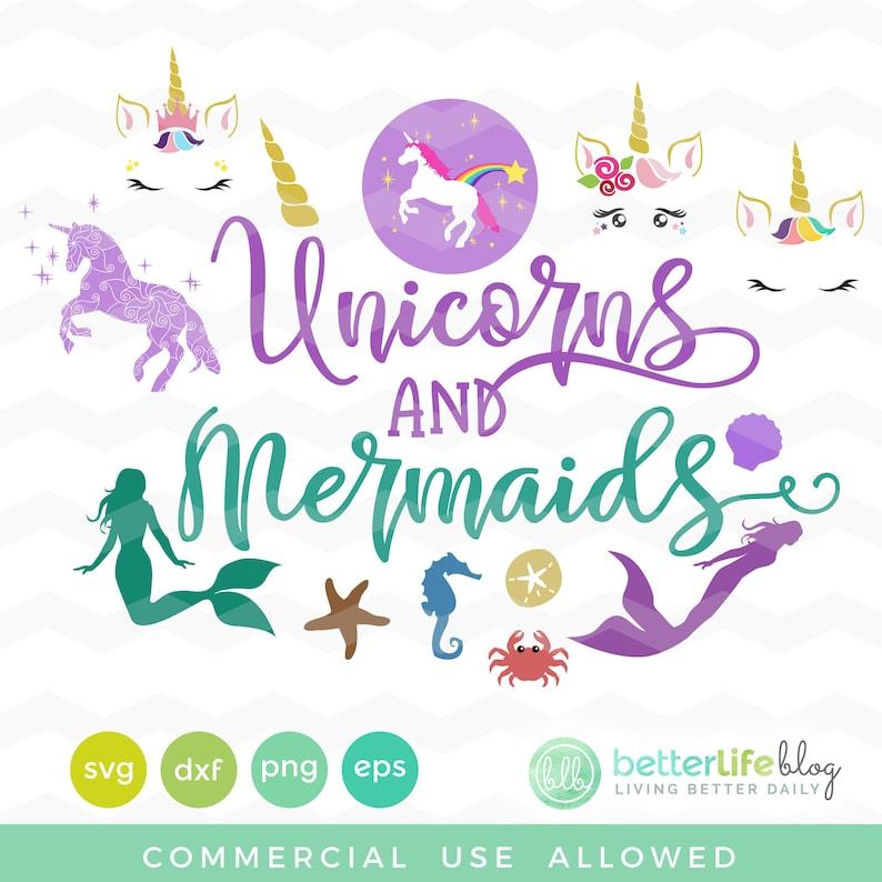 Unicorns and Mermaids SVG Bundle Unicorn Face SVG Cut image 0