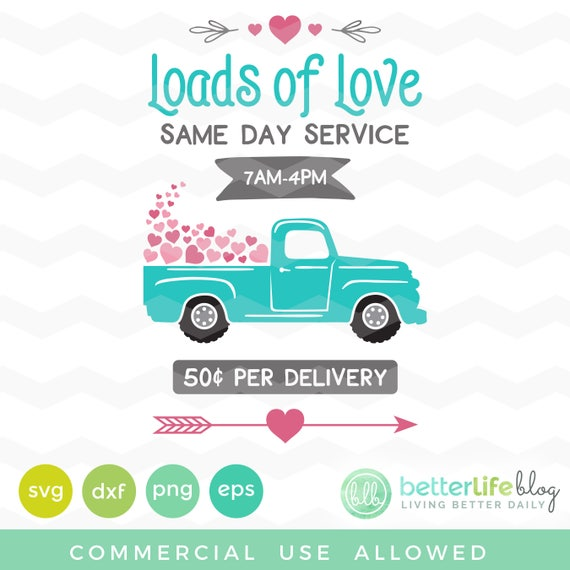 Valentine S Day Truck Svg Love Svg Files Heart Svg Loads Etsy