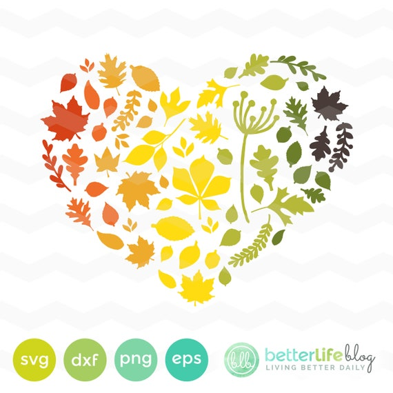 Autumn Leaves Heart Svg File Heart Fall Leaf Svg File Autumn Etsy