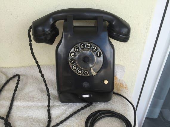 Antike Wand Telefon Schrack Bakelit Schwarz Etsy