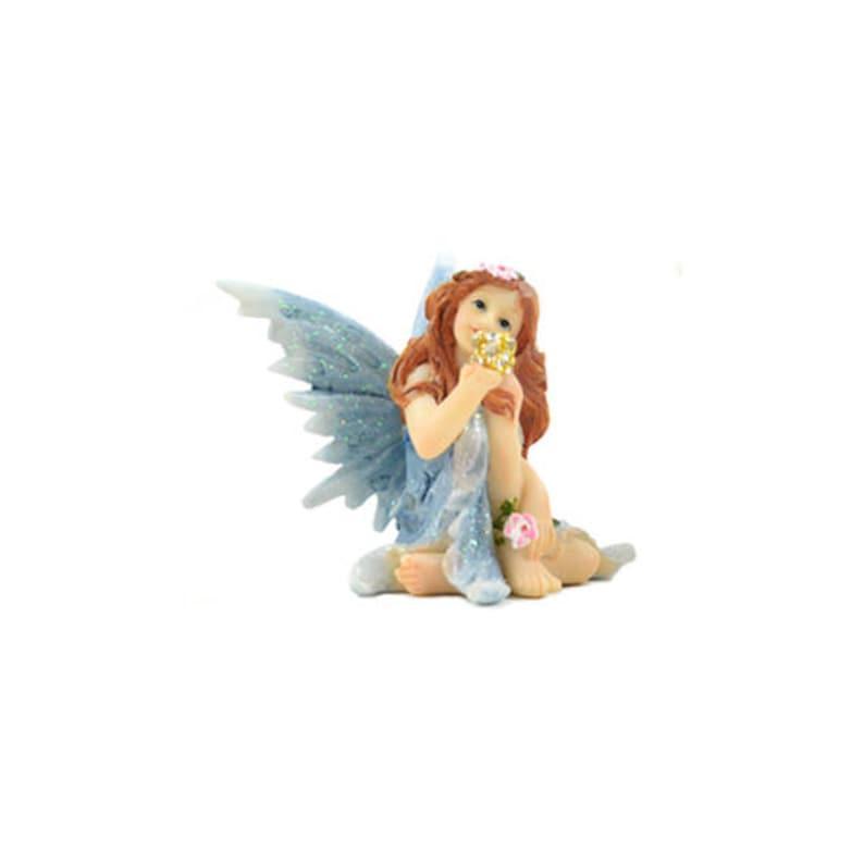 Shimmer Sitting Fairy Blue Miniature Fairy Garden Dollhouse 2.25 x 2.25