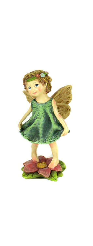 Fairy in Green Dress Standing Fairy w Gazing Ball in Green Dress Fairy Holding Gazing Ball