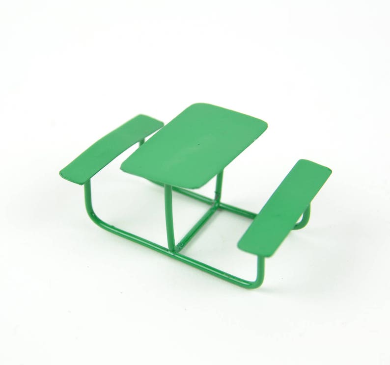 Amazing Green Picnic Bench Metal Picnic Table Outdoor Table And Bench Miniature Fairy Garden Furniture Gmtry Best Dining Table And Chair Ideas Images Gmtryco
