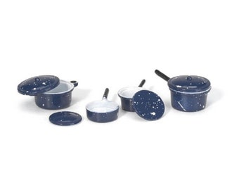 Dollhouse Miniature Pots and Pans with Lids - Blue - Assorted Sizes - 8 pieces