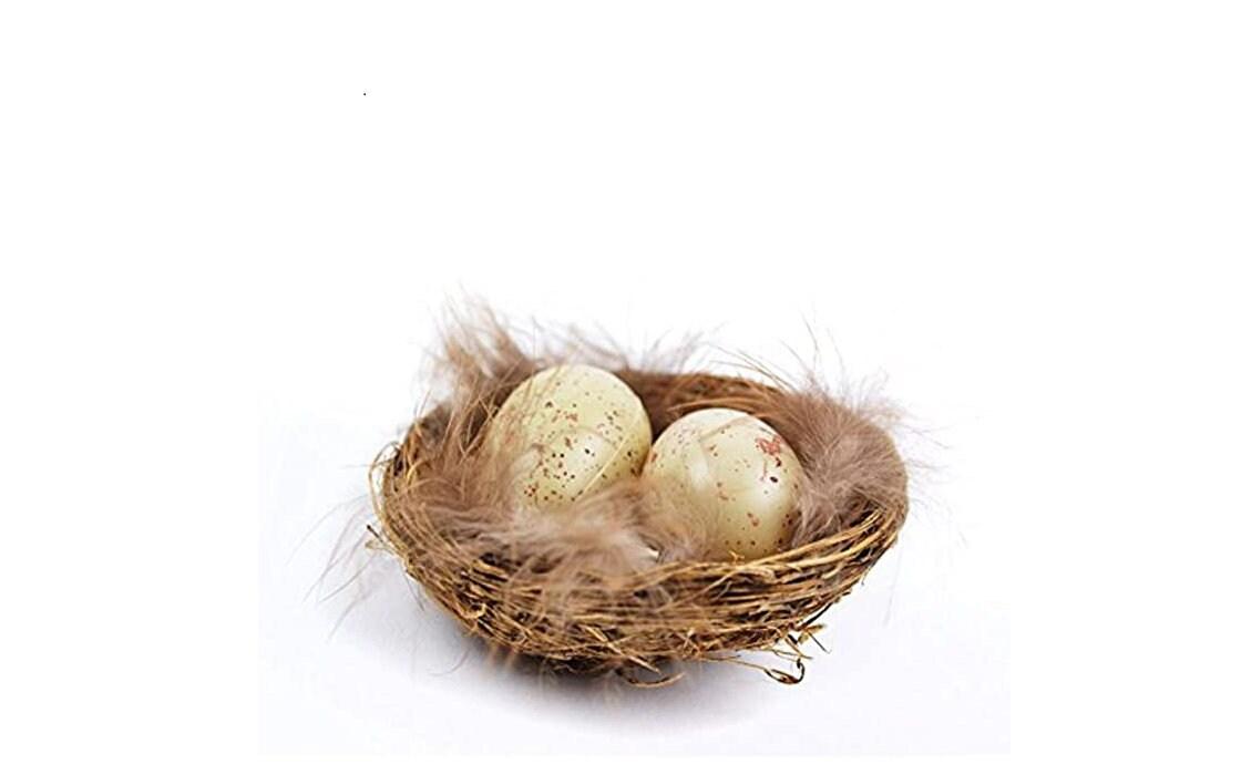 Artificial U6E2 1 Set Artificial Feather Birds with Nest /& Birds Egg