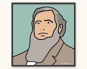 Brigham Young • Giclée Art Print • Illustrated Mormon LDS • Julian Opie