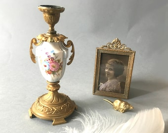 Vintage Candlestick. Porcelain candlestick limoges. Antique French candlestick. Painted candlestick. Golden bronze candlestick. Candleholder