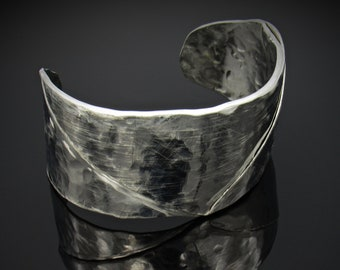 Folded Stainless Steel Cuff, Hand Forged Jewelry, Hammered Cuff, Hammered Bracelet, Cuff Bracelet