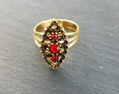 Sarah Coventry ruby red 3 Crystal gold Marquise adjustable ring 1970s free shipping within the United States