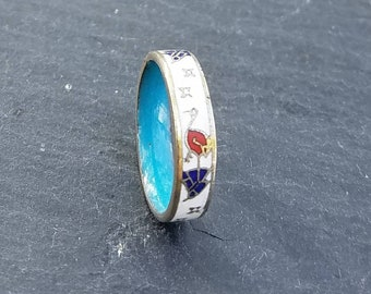 Very small detailed Asian-inspired stork crane enamel ring Band 3.5 free shipping within the United States