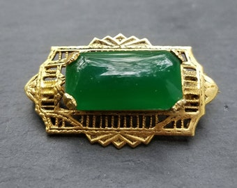 Fantastic deep green cabochon filigree pin right out of Downton Abbey free shipping