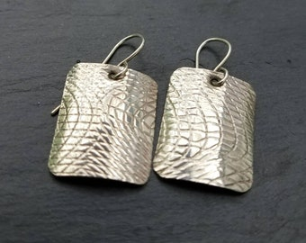 Sterling silver artisan patterned rectangle handmade earrings free shipping within the United States