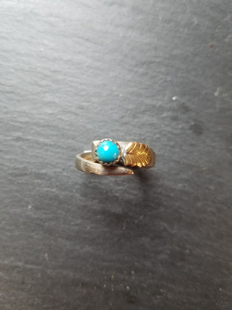 Turquoise Adjustable Ring Wraparound Style in Sterling Silver