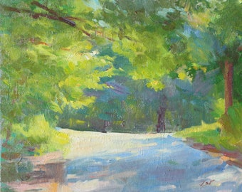 Light Through Trees Patching on Road Original Oil Painting Wall Art Contemporary Landscape Painting Impressionist Painting New Englad Art