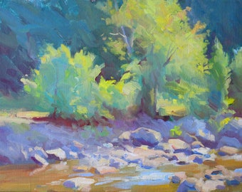 Original 12x16 Plein Air Painting - New Hampshire Stream in Springtime - Beautiful Sunlit Tree by River - Impressionist Art - Modern Painter