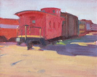 Impressionist Painting 8x10 Original Train Painting The Caboose Red Train Long Shadows Original Plein Air Painting Impressionist Art