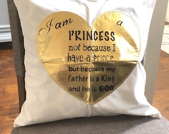 18x18 Canvas Stenciled Pillow -Princess-PILLOW INSERT Inluded!!!