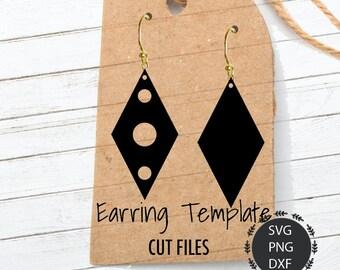 Earrings Svg, Rhombus Earrings Svg, Leather Earrings, Doungle Earrings, Faux Earrings, Svg, PNG, DXF, For Cricut, Silhouette Cut