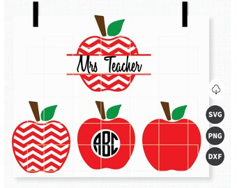 Apple Monogram, Teacher, Teacherlife, Chevron Apple Svg, Split monogram, Monogram, Png, Dxf Files, Cricut Cut Files, Silhouette Cut files