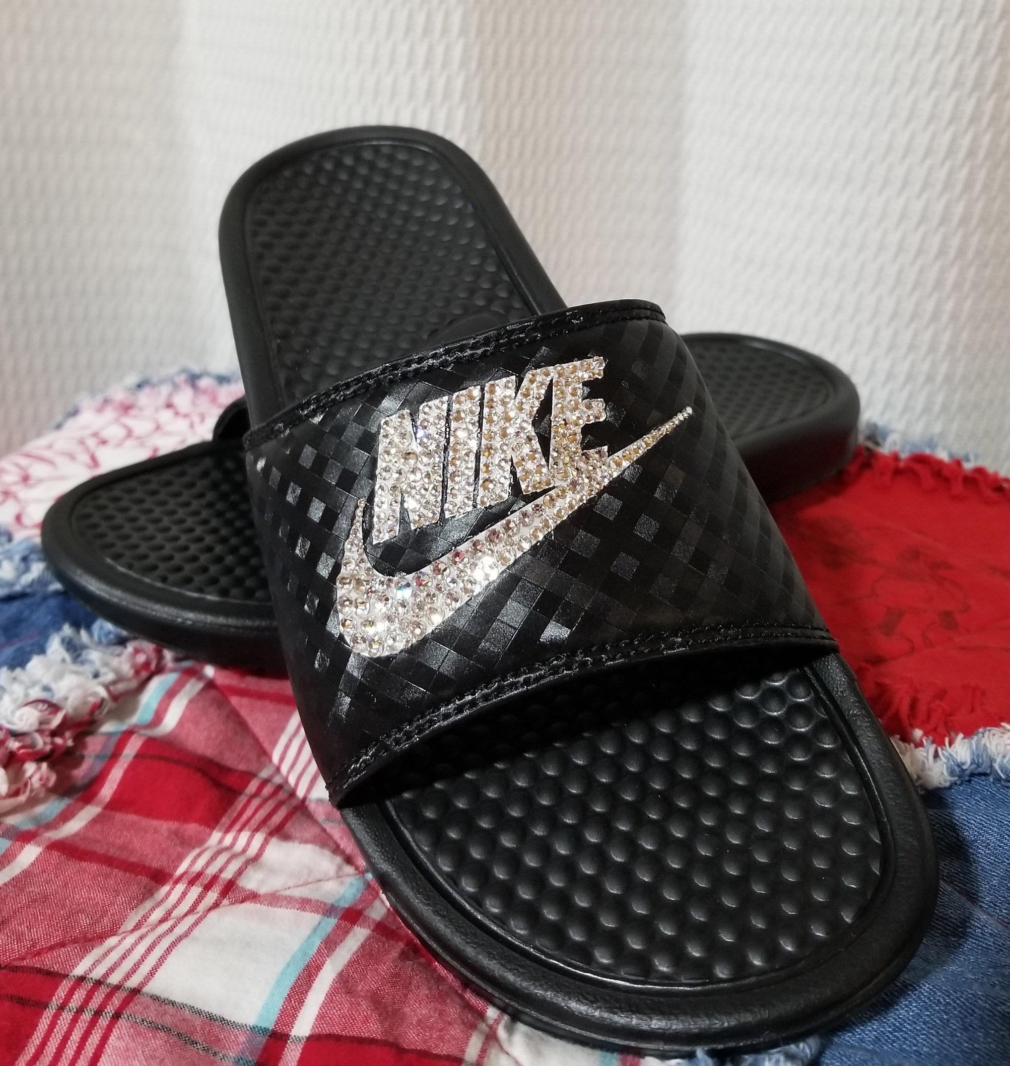 fbf0174ce Nike Benassi JDI Slides / Flip Flops / Customized Nike Slides with Swarovski  Crystals / Swarovski sandals / Swarovski flip flops / Softball .