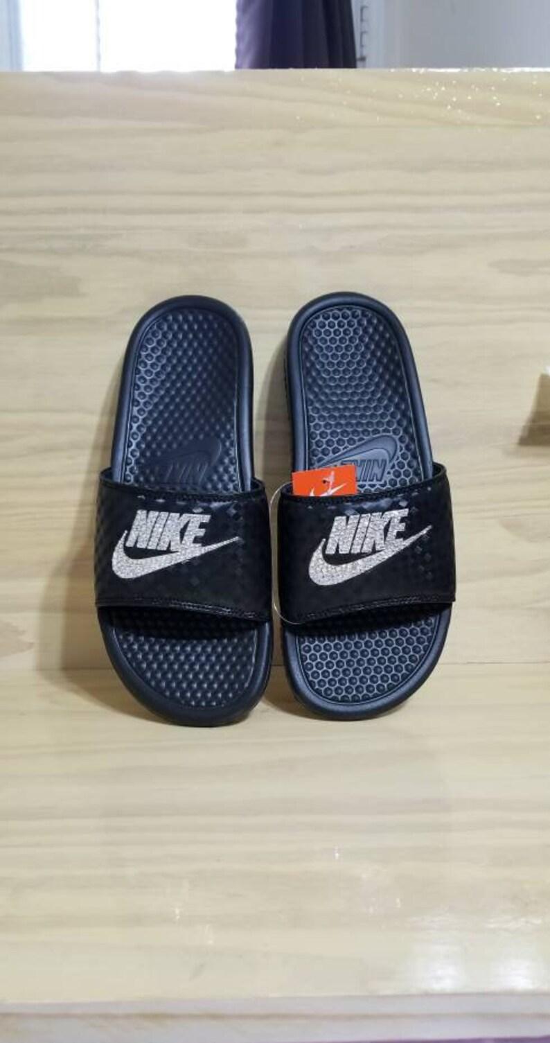 Nike Benassi JDI Slides Flip Flops Customized Nike Slides with Swarovski Crystals Swarovski sandals Swarovski flip flops Softball