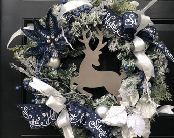blue reindeer wreath blue christmas wreath for front door holiday wreath winter wreath blue and silver christmas decor - Silver And Blue Christmas Decorations