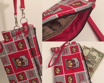 Ohio State Wristlet zipper pouch