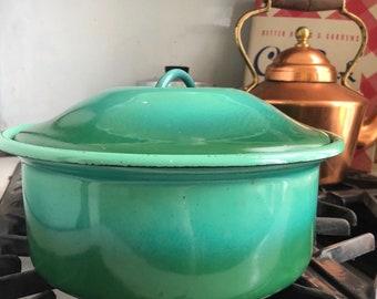 Stunning Ombre Green Vintage Enamel Casserole