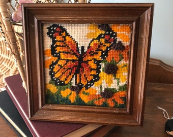 Vintage Butterfly Framed Crewel Embroidery