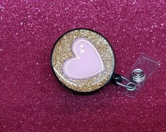 Valentine's day baby pink heart badge reel