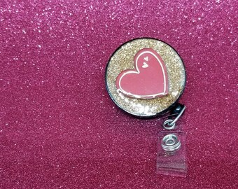 Valentine's day red heart badge reel