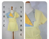 VINTAGE 1970 39 s 1980 39 s Baby Yellow, Grey, Blue Textured SPORTS MINI Dress. Uk Size S. Retro, Eighties, Kitsch, Cute, Funky, Quirky, Preppy