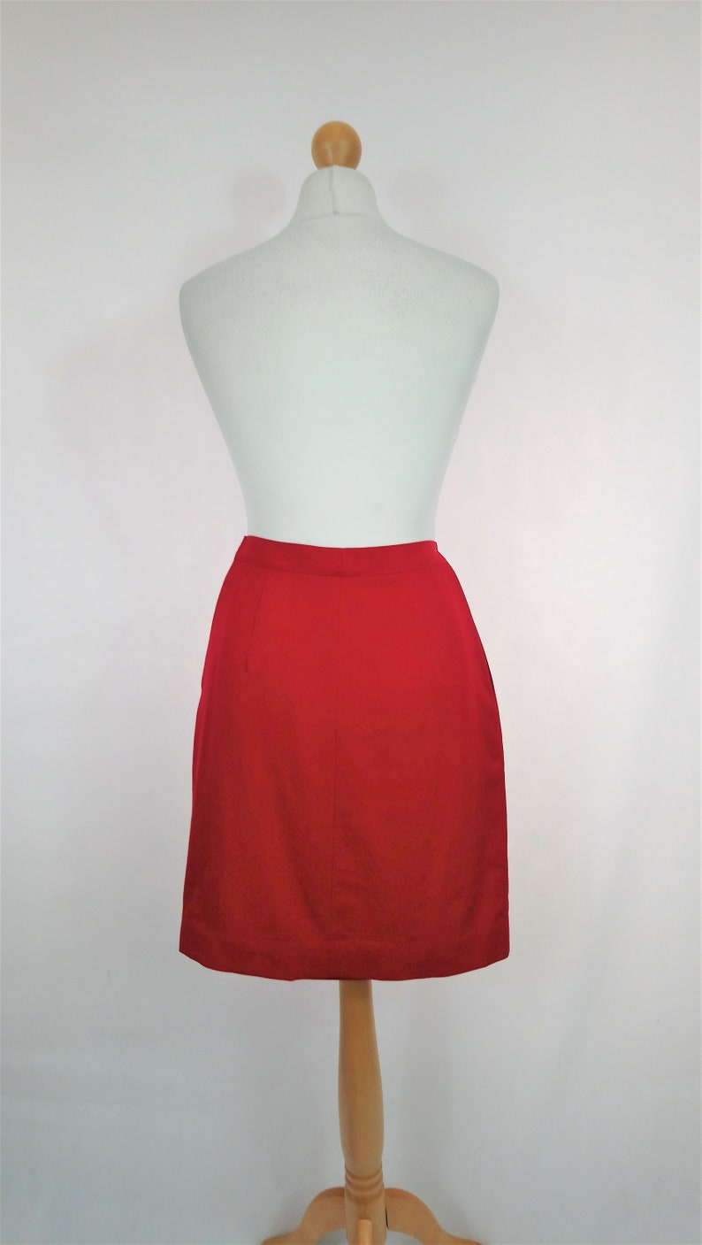Chic Glam Workwear VINTAGE 1980/'s 1990/'s Red AUSTIN REED Pencil Skirt Kitsch Pin Up Elegant Uk Size S Office Retro Preppy Geek