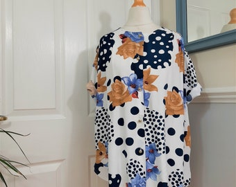 Fabulous 1980's Contrast Spots and Floral Print Oversized Blouse Plus Size UK 18-20