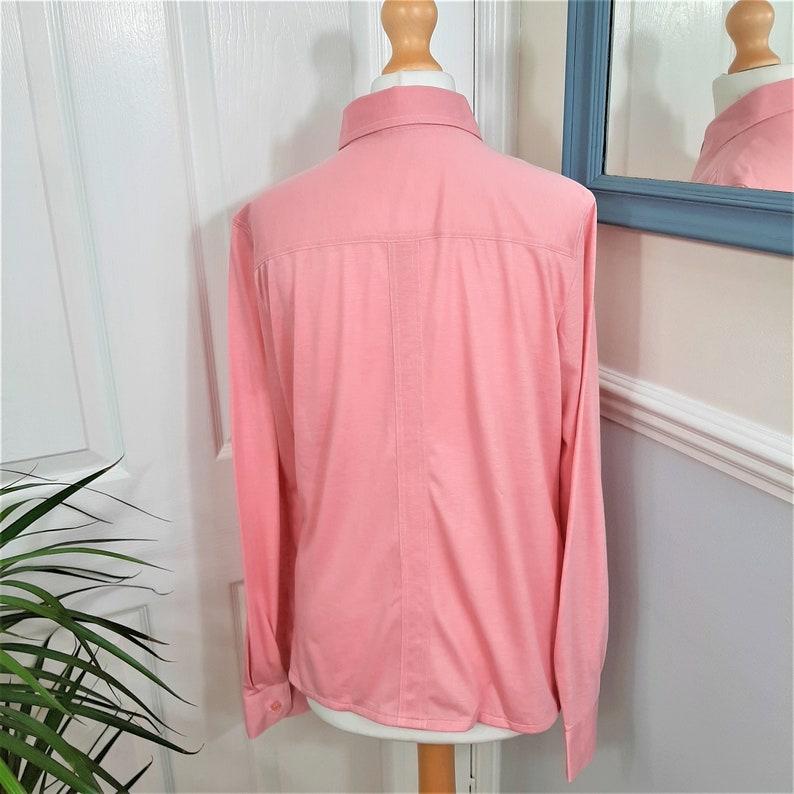 Preppy Elegant Chic 1970/'s Rose Pink Dagger Collar /'Creation Hauber/' Embroidered R Blouse Classic Cute 12 Pretty Mod Uk Size Medium