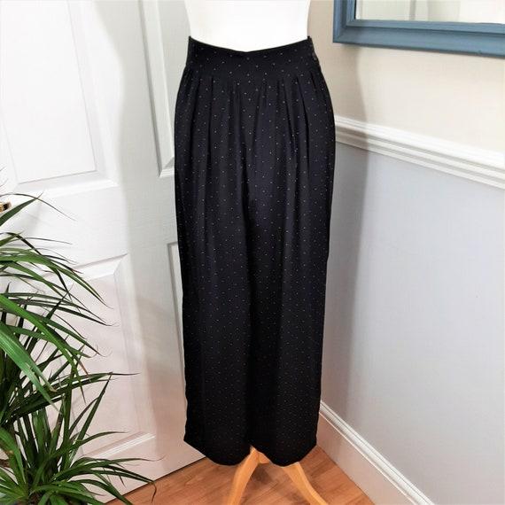 Vintage Torquoise Polka Dot Print Cuffed Leg Pleated Trousers Pants