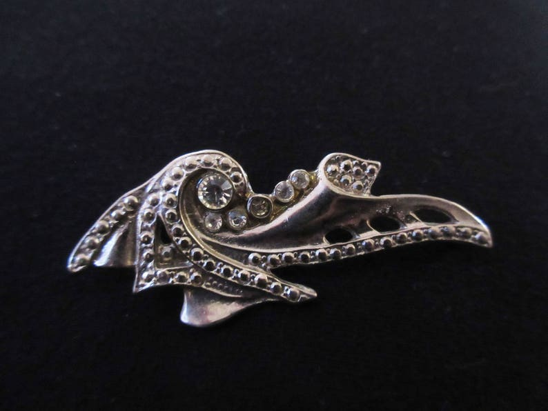 Vintage Art Deco Rhinestone Brooch  Pendant in Silver Tone