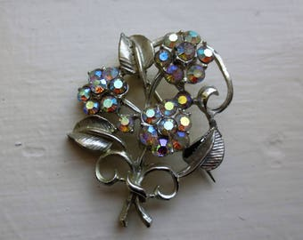 Vintage Aurora Borealis Crystal Floral Bouquet Brooch Set with Shimmering Rainbow Colours Old C Clasp