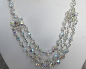 Vintage Aurora Borealis Crystal Multi Strand Necklace & Earrings Set with Shimmering Rainbow Colours